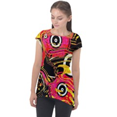 Abstract Clutter Cap Sleeve High Low Top