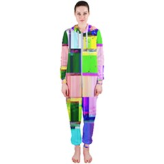 Glitch Art Abstract Hooded Jumpsuit (ladies)  by Vaneshart