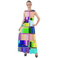 Glitch Art Abstract Chiffon Mesh Boho Maxi Dress