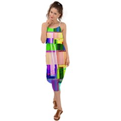 Glitch Art Abstract Waist Tie Cover Up Chiffon Dress