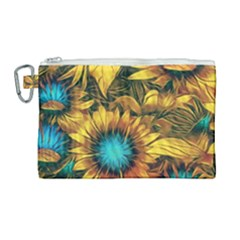 Floral Pattern Background Canvas Cosmetic Bag (large) by Vaneshart