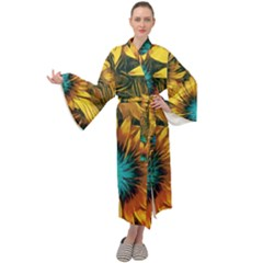 Floral Pattern Background Maxi Velour Kimono