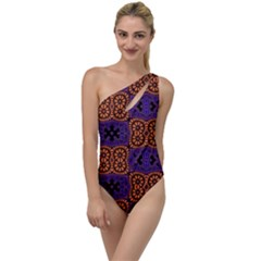 Abstract Clutter Pattern Vintage To One Side Swimsuit by Vaneshart