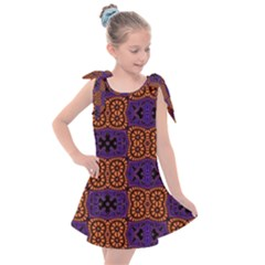 Abstract Clutter Pattern Vintage Kids  Tie Up Tunic Dress