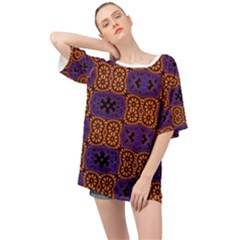 Abstract Clutter Pattern Vintage Oversized Chiffon Top