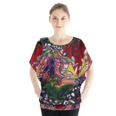 Seamless Abstract Background Red Batwing Chiffon Blouse