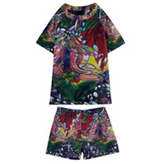 Seamless Abstract Background Red Kids  Swim Tee And Shorts Set by Vaneshart