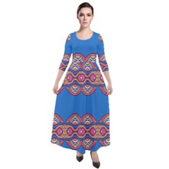 Shapes Chains On A Blue Background                                                Quarter Sleeve Maxi Velour Dress