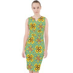 Flowers In Squares Pattern                                                 Midi Bodycon Dress