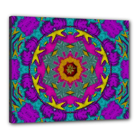 Fern  Mandala  In Strawberry Decorative Style Canvas 24  X 20  (stretched) by pepitasart
