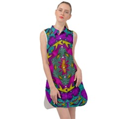 Fern  Mandala  In Strawberry Decorative Style Sleeveless Shirt Dress by pepitasart