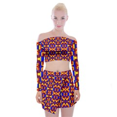 Abstract 25 Off Shoulder Top With Mini Skirt Set