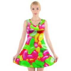 Vibrant Jelly Bean Candy V-neck Sleeveless Dress by essentialimage