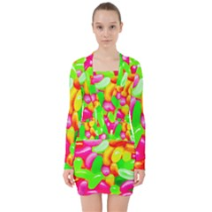 Vibrant Jelly Bean Candy V-neck Bodycon Long Sleeve Dress by essentialimage