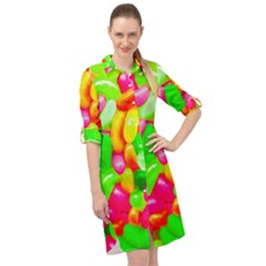 Vibrant Jelly Bean Candy Long Sleeve Mini Shirt Dress by essentialimage