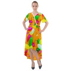 Vibrant Jelly Bean Candy Front Wrap High Low Dress by essentialimage