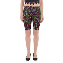 Green Fauna And Leaves In So Decorative Style Yoga Cropped Leggings by pepitasart