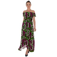 Green Fauna And Leaves In So Decorative Style Off Shoulder Open Front Chiffon Dress