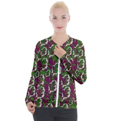 Green Fauna And Leaves In So Decorative Style Casual Zip Up Jacket