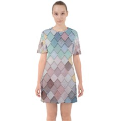 Tiles Shapes 2617112 960 720 Sixties Short Sleeve Mini Dress by vintage2030