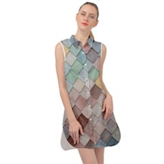 Tiles Shapes 2617112 960 720 Sleeveless Shirt Dress by vintage2030