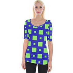 Squares Grid Seamless Wide Neckline Tee