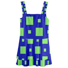 Squares Grid Seamless Kids  Layered Skirt Swimsuit