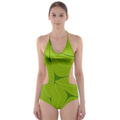 Pattern Leaves Walnut Nature Cut Out One Piece Swimsuit