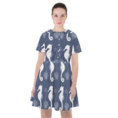 Seahorse Shell Pattern Sailor Dress