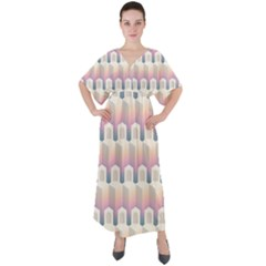 Seamless Pattern Background Entrance V Neck Boho Style Maxi Dress