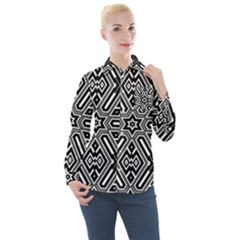 Grid Pattern Backdrop Women s Long Sleeve Pocket Shirt