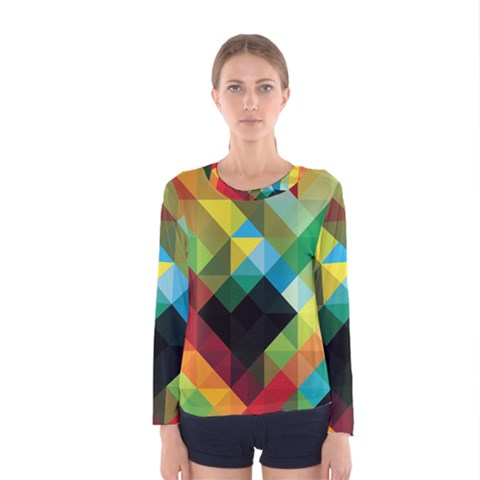 Pattern Colorful Geometry Abstract Wallpaper Women s Long Sleeve Tee by Vaneshart