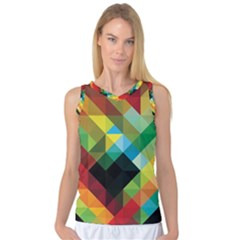 Pattern Colorful Geometry Abstract Wallpaper Women s Basketball Tank Top