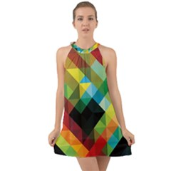 Pattern Colorful Geometry Abstract Wallpaper Halter Tie Back Chiffon Dress by Vaneshart