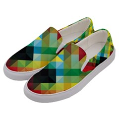 Pattern Colorful Geometry Abstract Wallpaper Men s Canvas Slip Ons by Vaneshart