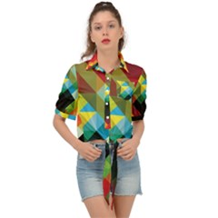 Pattern Colorful Geometry Abstract Wallpaper Tie Front Shirt