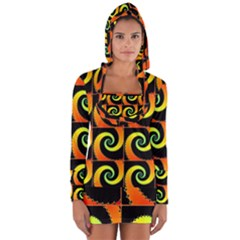Spiral Seamless Pattern Long Sleeve Hooded T-shirt by Vaneshart