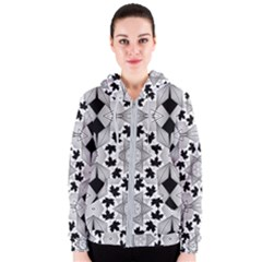 Seamless Pattern With Maple Leaves Women s Zipper Hoodie by Vaneshart