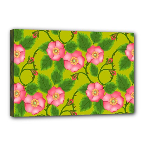 Roses Flowers Pattern Canvas 18  X 12  (stretched)