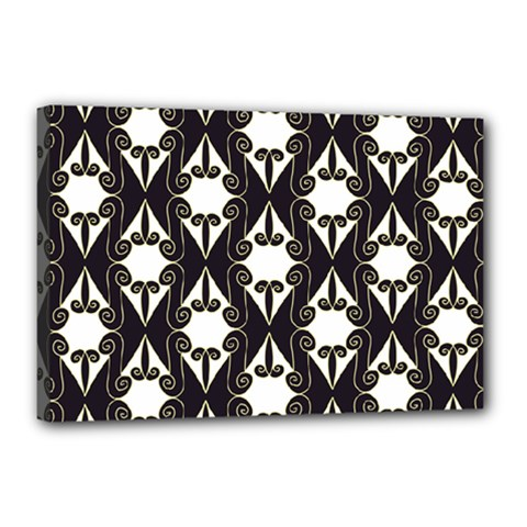 Abstract Seamless Pattern Graphic Black Canvas 18  X 12  (stretched)
