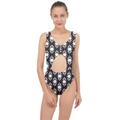 Abstract Seamless Pattern Graphic Black Center Cut Out Swimsuit