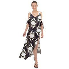Abstract Seamless Pattern Graphic Black Maxi Chiffon Cover Up Dress