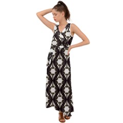 Abstract Seamless Pattern Graphic Black V Neck Chiffon Maxi Dress