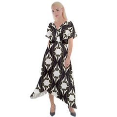Abstract Seamless Pattern Graphic Black Cross Front Sharkbite Hem Maxi Dress