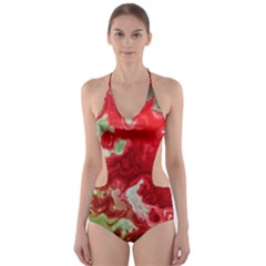 Abstract Stain Red Cut Out One Piece Swimsuit