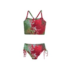 Abstract Stain Red Girls  Tankini Swimsuit
