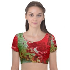 Abstract Stain Red Velvet Short Sleeve Crop Top