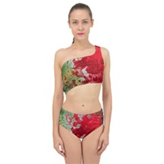 Abstract Stain Red Spliced Up Two Piece Swimsuit