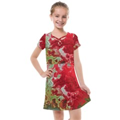 Abstract Stain Red Kids  Cross Web Dress