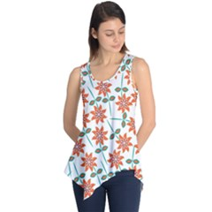 Vector Flower Floral Sleeveless Tunic